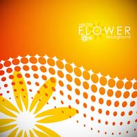 vector spring illustration with flower on circle pattern background