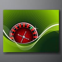 Casino illustration with roulette wheel.