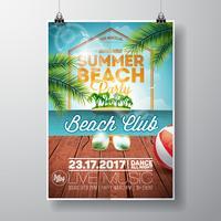 Summer Beach Party Flyer Design avec des lunettes de soleil sur fond de paysage océanique.