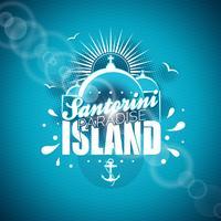 Santorini Paradise Island illustration med typografisk design på blå bakgrund.