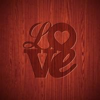 Valentines Day illustration with engraved Love typography design on wood