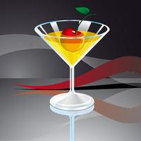 vector illustration with beverage glass and cherry