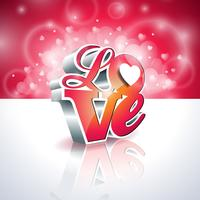 Valentines Day illustration with 3d Love typography design