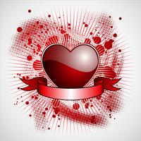 Valentine's day illustration with glossy red heart and ribbon