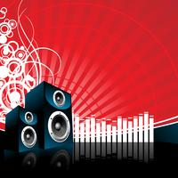 music illustration with speaker on red background
