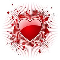 De dagillustratie van de valentijnskaart met glanzende rode harten.