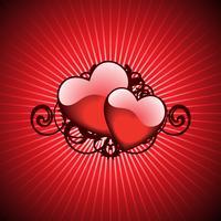 Valentinstagillustration mit reizenden Herzen