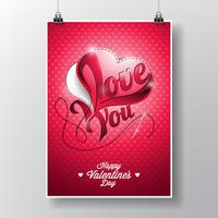Vector Flyer illustration on a Valentine's Day theme with sewing heart