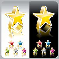Shiny vector color star button set