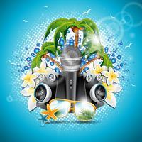 Vector ilustración de vacaciones de verano en un tema de música y fiesta