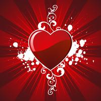 valentine's day illustration with lovely hearth on red background
