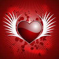 Valentijnsdag illustratie met glanzende hart en vleugels op rode achtergrond.