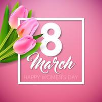 Ilustración del día de la mujer feliz con ramo de tulipanes y letra de tipografía del 8 de marzo