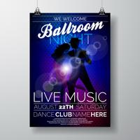 Vector Ballroom Night Party Flyer design con coppia ballare il tango