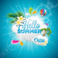 Vector Hello Summer Holiday typographic illustration with tropical plants