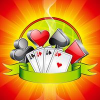 Gambling illustration with 3d casino symbols, cards and ribbon.