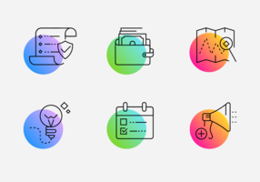 Paquete de iconos de línea de gradiente minimalista