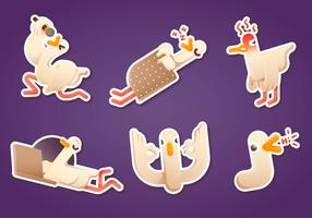 Funny emotional goose sticker pack vector