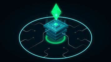 Isometrische Blockchain Ethereum Neon Illustratie