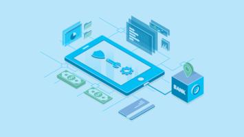 Saubere isometrische Technologie-Geld-Illustration