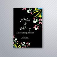 Beautiful wedding invitation card with colorful floral design vector