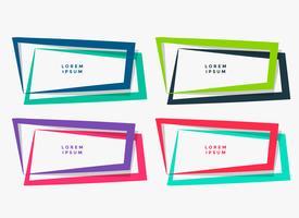 vier geometrische kaders die in verschillende kleuren worden geplaatst