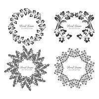 Dekorativt dekorativt blommigt ramsett design