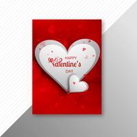 Beautiful heart valentine's day card brochure vector