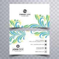 Modèle de jeu de carte de visite floral coloré abstrait
