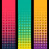 banner de meio-tom vertical três em cores diferentes