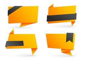 conjunto de banners de origami en blanco