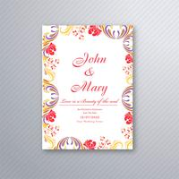 Beautiful wedding invitation card with colorful floral design