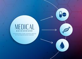 Fondo de concepto médico con iconos