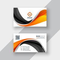 Plantilla de tarjeta de visita abstracta onda naranja y negro