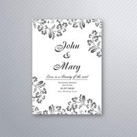 Decorative floral wedding invitation card design vector