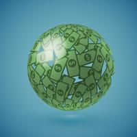 Globe vert en argent, illustration vectorielle