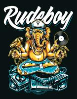 Rude Boy Ganesha Art Vecteur