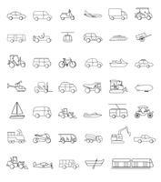 Vettore di vari veicoli di trasporto