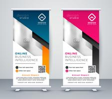 oprollen banner lay-out sjabloon in geometrische stijl