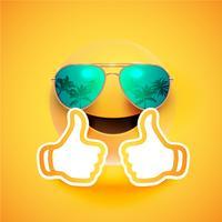 Realistisk uttryckssymbol med solglasögon och tummen upp, vektor illustration