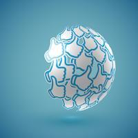 """Blå realistiska skuggade """"tummen upp"""" jordklotet med anslutningar, vektor illustration"""