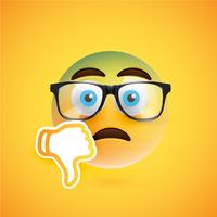 Emoticon med tummen ner, vektor illustration