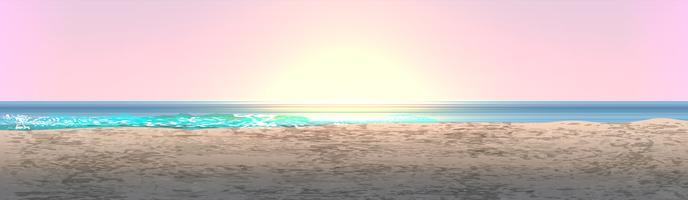 Paisaje realista de una playa con puesta de sol / amanecer, ilustración vectorial