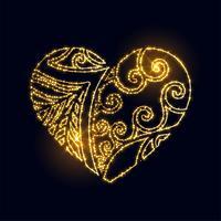 kreatives goldenes Luxusherz gemacht mit Scheinhintergrund