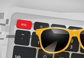 Hög detaljerad realistiska solglasögon på skrivbord med tangentbord, vektor illustration