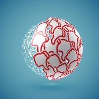 Azul realista sombreada 'thumbs up' globo com conexões, ilustração vetorial