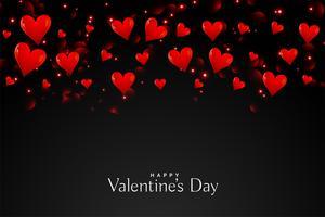svart bakgrund med flytande röda hjärtan
