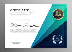 blått certifikat för uppskattning mall design
