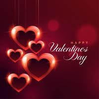 shiny hanging red hearts bokeh background