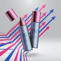 Productos de belleza realistas con colores de fondo, ilustración vectorial